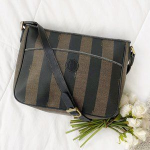 Fendi Pequin Stripe Messenger / File Bag